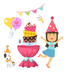 Happy birthday party kids set vector