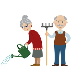 Happy cartoon gardeners grandparents vector