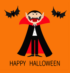 Happy halloween count dracula wearing black and vector