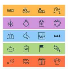 happy icons set with christmas angel bells vector image