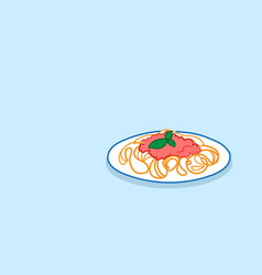 heaped plate spaghetti pasta with basil and vector image
