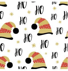 ho santa claus hat seamless pattern vector image