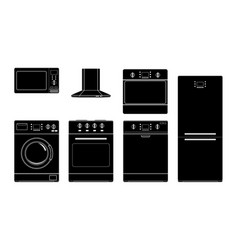 Home appliances black silhouette icons vector