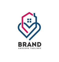 house and heart logo vector image