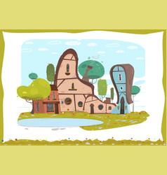 Idyllic panorama craft village scene in frame vector