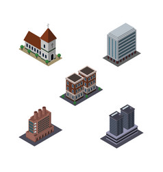isometric construction set of office industry vector image