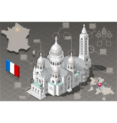 Isometric Infographic Sacre Coeur Montmartre Paris vector image
