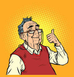 Joyful elderly man with glasses thumb up like vector