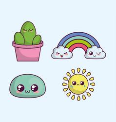 Kawaii rainbows icon vector