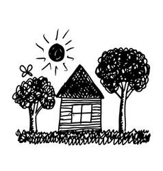 Kid hand draw home tree and sun vector