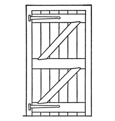 Ledged and braced door vintage vector