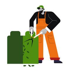 Man gardener cutting bush worker trims plants in vector