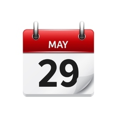 May 29 flat daily calendar icon Date and vector