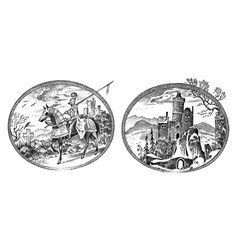 medieval knight and castle antique chateau vector image