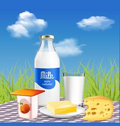 Milk dairy realistic advertisement vector