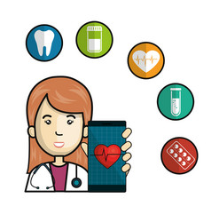 mobile health technology icons vector image