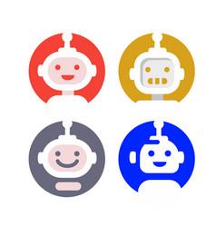 Modern robot logo in round vector