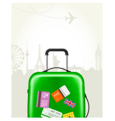 Modern suitcase with travel tags - journey baggage vector