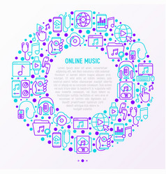 online music concept in circle with thin line icon vector image