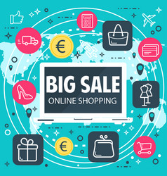Online shopping internet sale poster vector