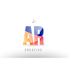 Orange blue alphabet letter ar a r logo icon vector