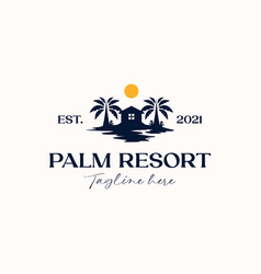 palm tree with house logo template isolated vector image