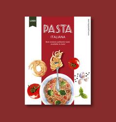 Pasta poster design with tomato garlic vector