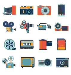 Photo Video Icons Set vector image