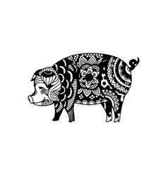 Pig animal ornament vector