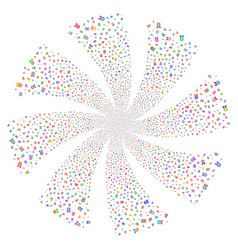 Quality fireworks swirl rotation vector