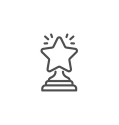 Rank star line icon success reward vector