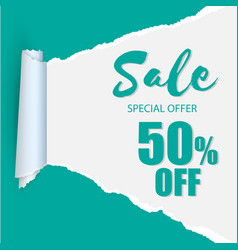 sale special offer 50 off teared paper background vector image