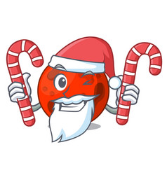 Santa with candy mars planet mascot cartoon vector