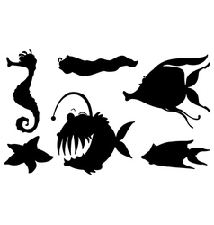 Sea creatures in its silhouette forms vector image