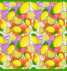 seamless pattern lemon fruits summer ornament vector image