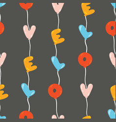 seamless pattern with colorful balloons in line vector image