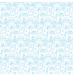 seamless pattern with icons cleaning items vector image
