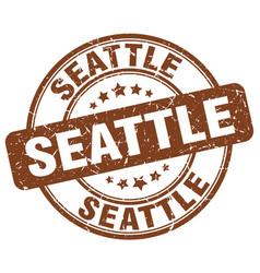 Seattle brown grunge round vintage rubber stamp vector