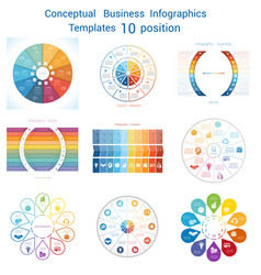 Set infographics conceptual cyclic processes ten vector