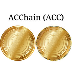 Set of physical golden coin acchain acc vector