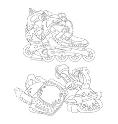 Set of roller skates and protective gear vector