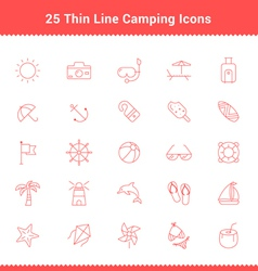 Set of Thin Line Stroke Beach Icons vector image