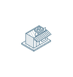shop building isometric icon 3d line art vector image