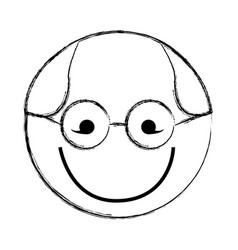 sketch draw round glasses man face cartoon vector image