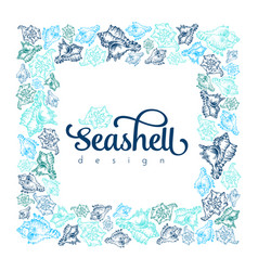 Sketch seashell card template background vector