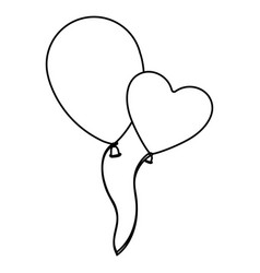 sketch silhouette couple balloons flying romantic vector image