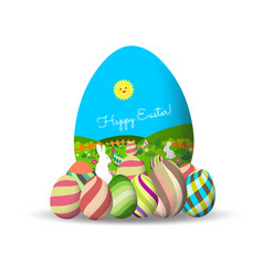 spring easter background with egg and bunny vector image