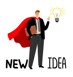 superhero businessman with light bulb vector image
