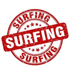 surfing red grunge round vintage rubber stamp vector image