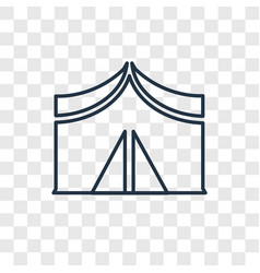 Tent concept linear icon isolated on transparent vector